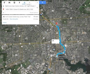 Jones Falls Trail (slightly uphill) from the Baltimore Visitors Center to Penn Station (part 1)
