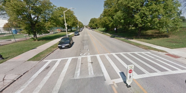 "For street crossings, add ""stop for pedestrians"" signs. Image of crossing in Baltimore's Patterson Park from Google Street view."